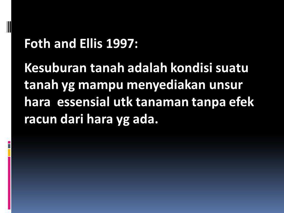 Foth and Ellis 1997: Kesuburan tanah adalah kondisi suatu tanah yg mampu menyediakan unsur hara essensial utk tanaman tanpa efek racun dari hara yg ad