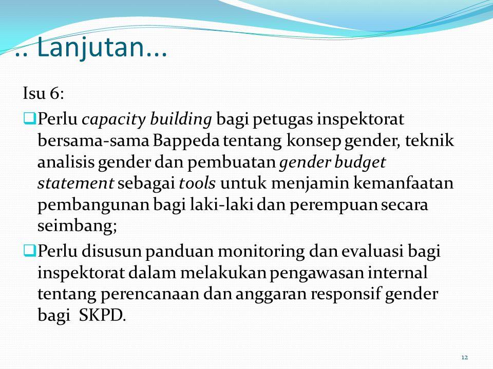 .. Lanjutan... Isu 6:  Perlu capacity building bagi petugas inspektorat bersama-sama Bappeda tentang konsep gender, teknik analisis gender dan pembua