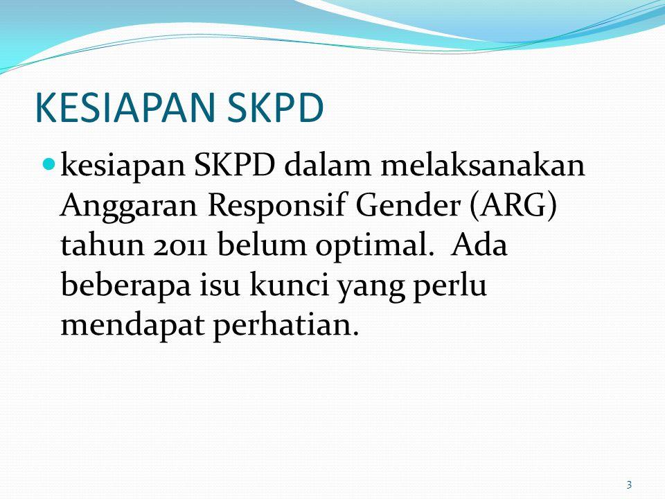 KESIAPAN SKPD kesiapan SKPD dalam melaksanakan Anggaran Responsif Gender (ARG) tahun 2011 belum optimal. Ada beberapa isu kunci yang perlu mendapat pe