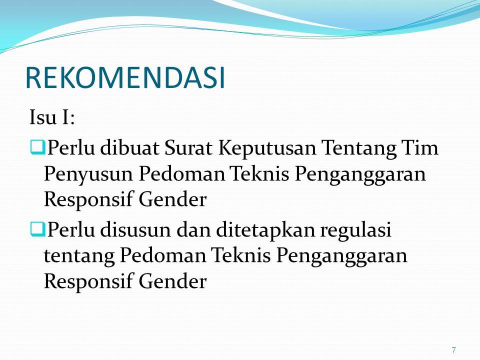 REKOMENDASI Isu I:  Perlu dibuat Surat Keputusan Tentang Tim Penyusun Pedoman Teknis Penganggaran Responsif Gender  Perlu disusun dan ditetapkan reg