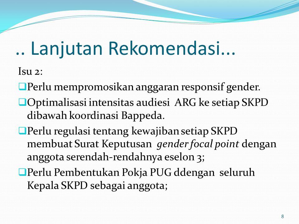 .. Lanjutan Rekomendasi... Isu 2:  Perlu mempromosikan anggaran responsif gender.  Optimalisasi intensitas audiesi ARG ke setiap SKPD dibawah koordi