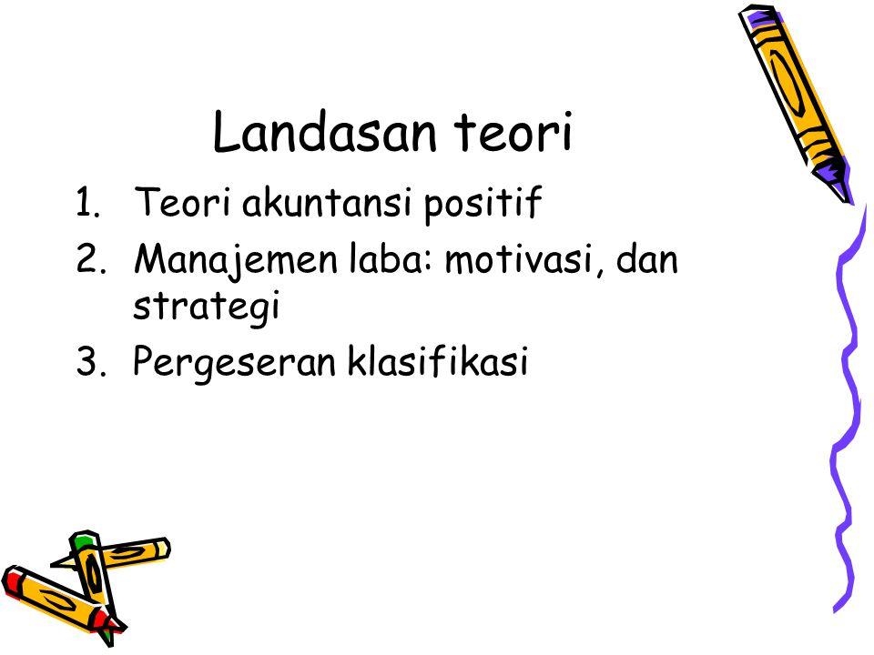 Landasan teori 1.Teori akuntansi positif 2.Manajemen laba: motivasi, dan strategi 3.Pergeseran klasifikasi