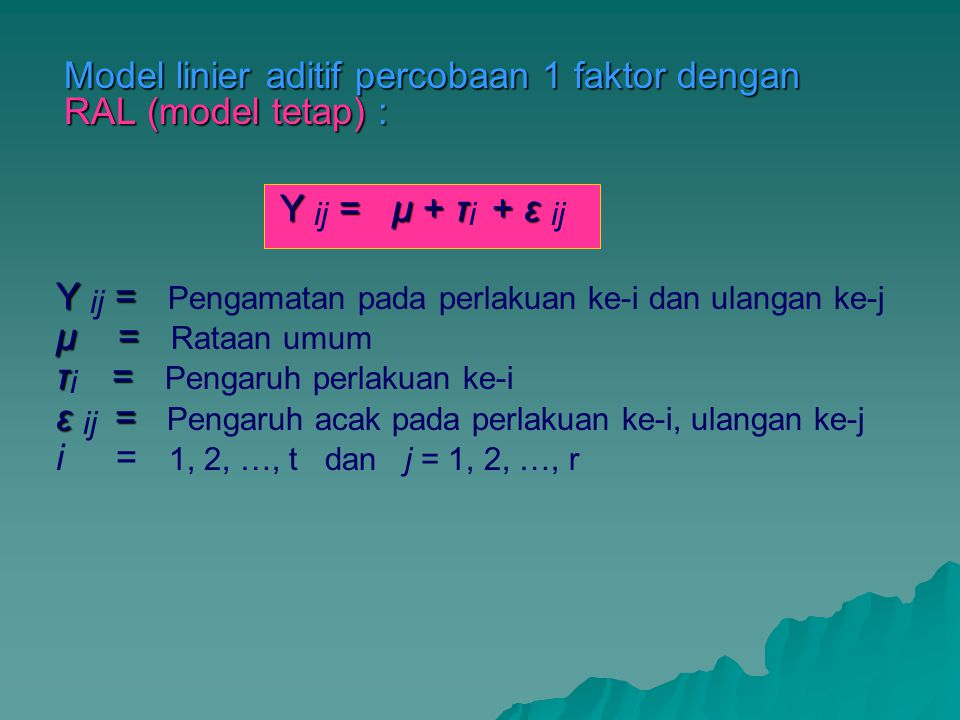 Model linier aditif percobaan 1 faktor dengan RAL (model tetap) : Y = μ + τ+ ε Y ij = μ + τ i + ε ij Y = Y ij = Pengamatan pada perlakuan ke-i dan ula