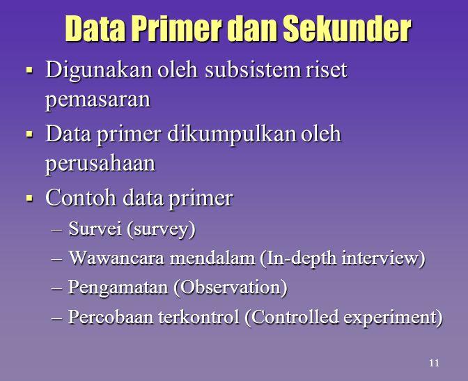 Data Primer dan Sekunder  Digunakan oleh subsistem riset pemasaran  Data primer dikumpulkan oleh perusahaan  Contoh data primer –Survei (survey) –W