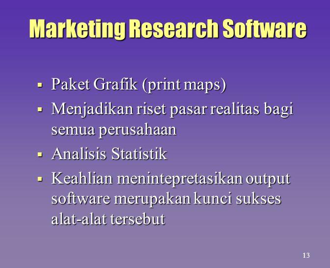 Marketing Research Software  Paket Grafik (print maps)  Menjadikan riset pasar realitas bagi semua perusahaan  Analisis Statistik  Keahlian menint