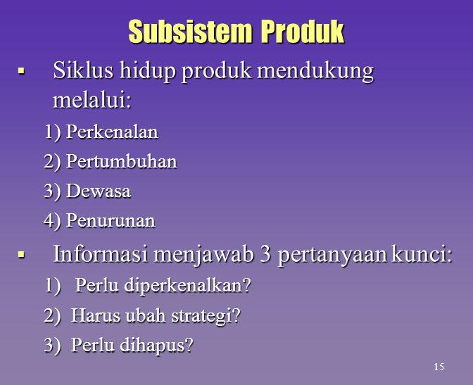 Subsistem Produk  Siklus hidup produk mendukung melalui: 1) Perkenalan 2) Pertumbuhan 3) Dewasa 4) Penurunan  Informasi menjawab 3 pertanyaan kunci: