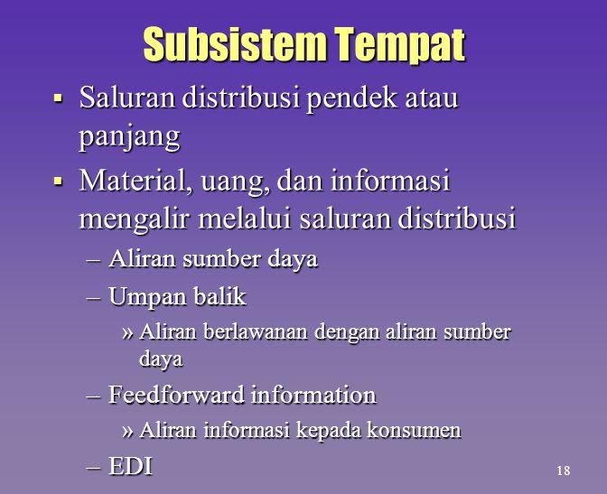 Subsistem Tempat  Saluran distribusi pendek atau panjang  Material, uang, dan informasi mengalir melalui saluran distribusi –Aliran sumber daya –Ump