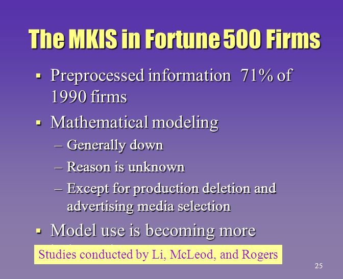 The MKIS in Fortune 500 Firms  Preprocessed information 71% of 1990 firms  Mathematical modeling –Generally down –Reason is unknown –Except for prod