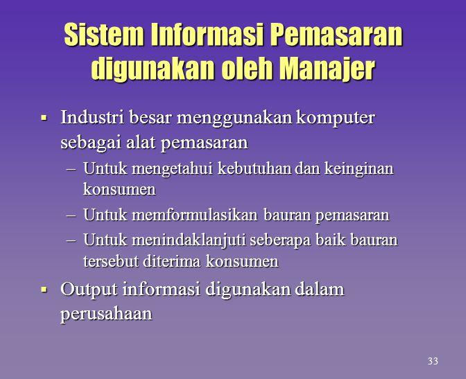 Sistem Informasi Pemasaran digunakan oleh Manajer  Industri besar menggunakan komputer sebagai alat pemasaran –Untuk mengetahui kebutuhan dan keingin