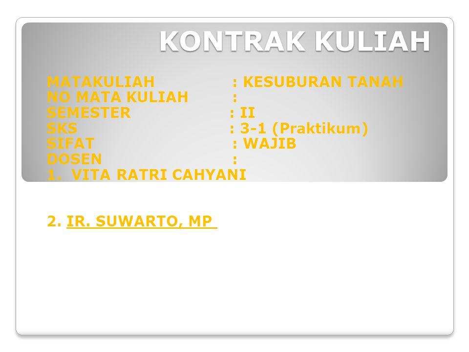 KONTRAK KULIAH MATAKULIAH: KESUBURAN TANAH NO MATA KULIAH: SEMESTER : II SKS : 3-1 (Praktikum) SIFAT: WAJIB DOSEN: 1.