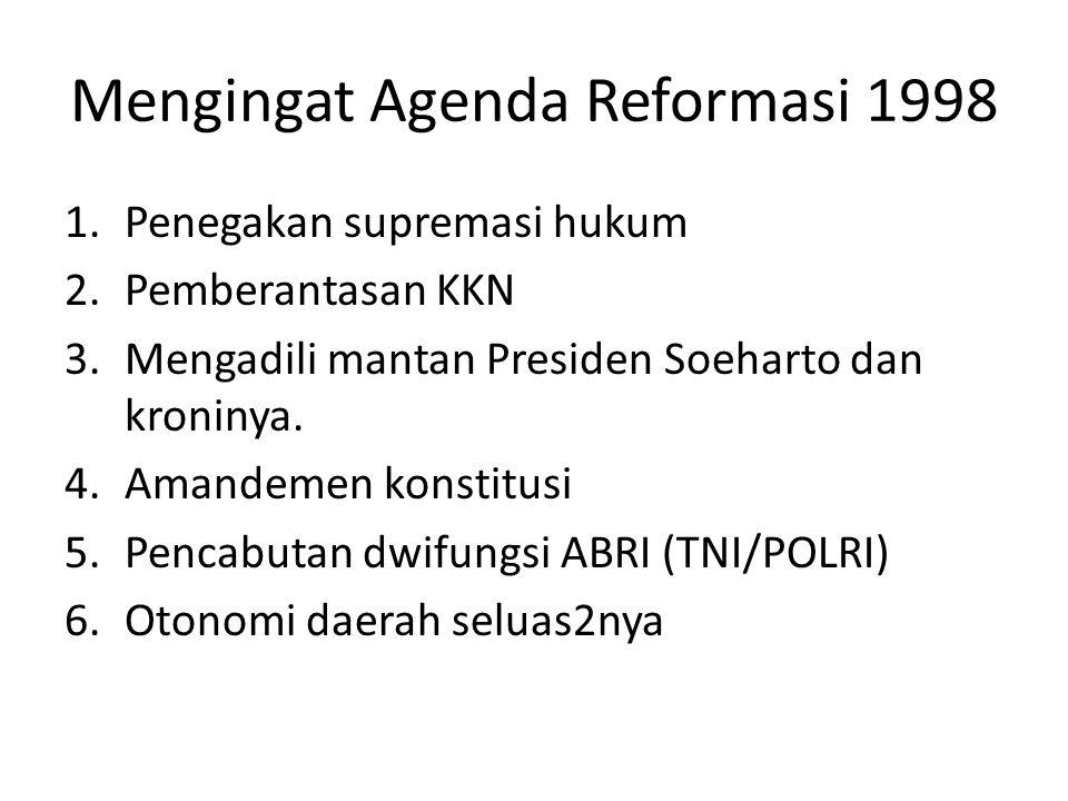 Mengingat Agenda Reformasi 1998 1.Penegakan supremasi hukum 2.Pemberantasan KKN 3.Mengadili mantan Presiden Soeharto dan kroninya. 4.Amandemen konstit