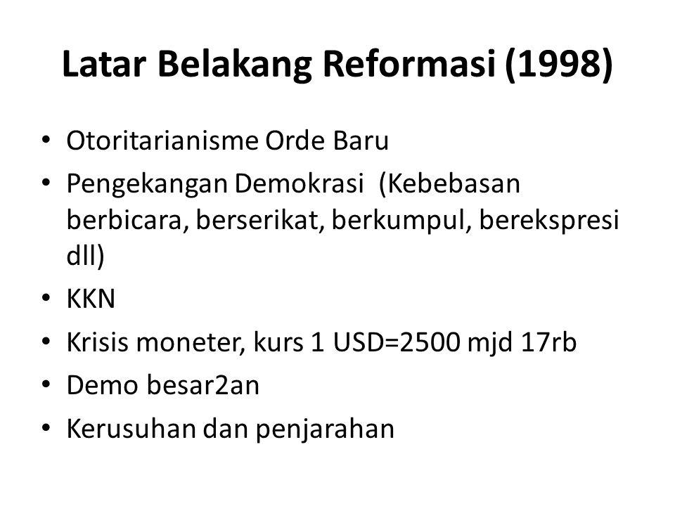Latar Belakang Reformasi (1998) Otoritarianisme Orde Baru Pengekangan Demokrasi (Kebebasan berbicara, berserikat, berkumpul, berekspresi dll) KKN Kris