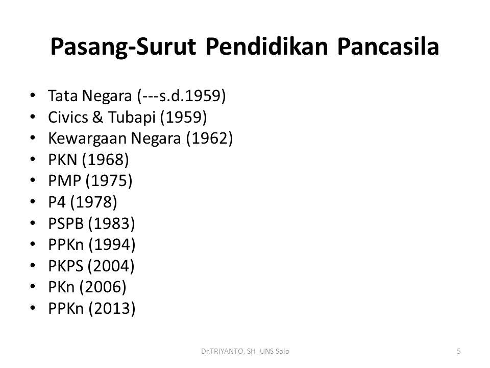 Dr.TRIYANTO, SH_UNS Solo5 Pasang-Surut Pendidikan Pancasila Tata Negara (---s.d.1959) Civics & Tubapi (1959) Kewargaan Negara (1962) PKN (1968) PMP (1