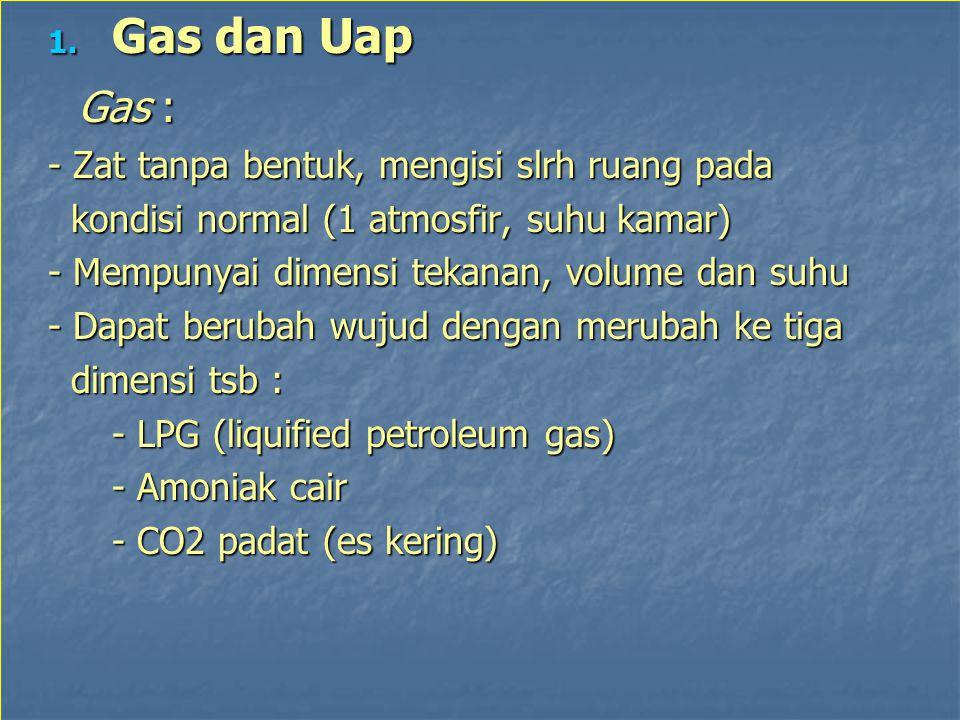 1. Gas dan Uap Gas : Gas : - Zat tanpa bentuk, mengisi slrh ruang pada kondisi normal (1 atmosfir, suhu kamar) kondisi normal (1 atmosfir, suhu kamar)