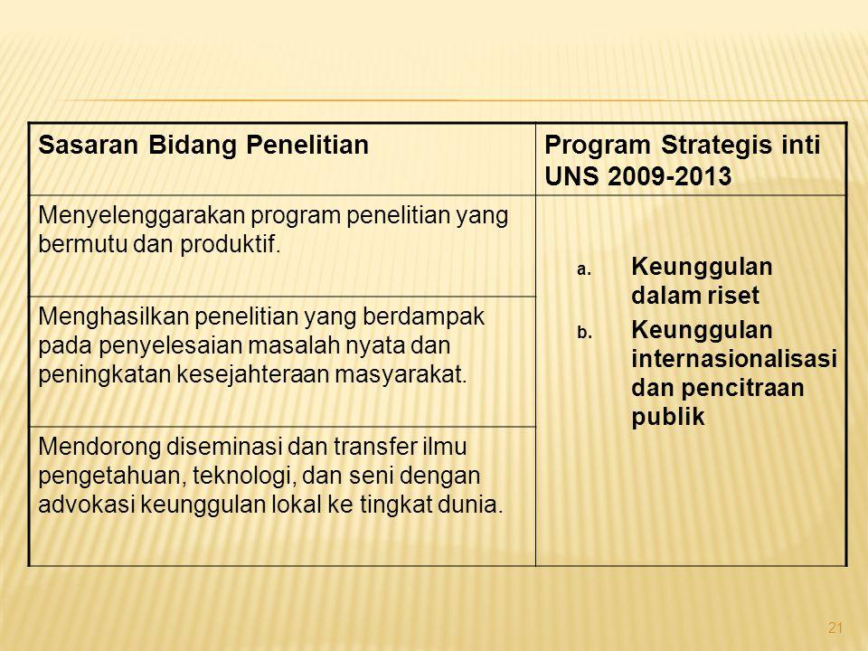 Sasaran Bidang PendidikanProgram Strategis inti UNS 2009-2013 Menghasilkan lulusan dengan kompetensi yang relevan dengan kebutuhan masyarakat masa depan.