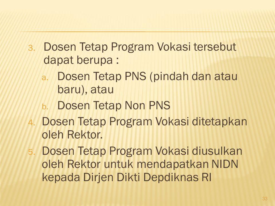 1.Program Vokasi wajib memiliki Dosen Tetap. 2.
