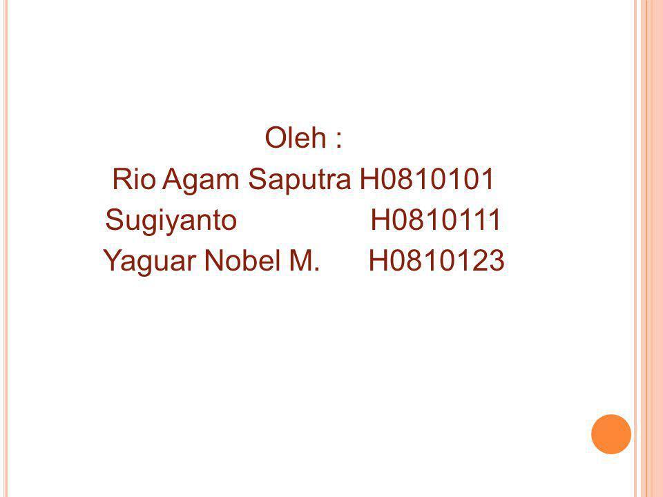 Oleh : Rio Agam Saputra H0810101 Sugiyanto H0810111 Yaguar Nobel M. H0810123