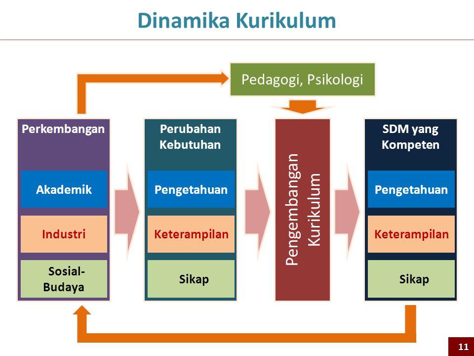 Perkembangan Akademik Industri Sosial- Budaya Perubahan Kebutuhan Pengetahuan Keterampilan Sikap Pengembangan Kurikulum SDM yang Kompeten Pengetahuan Keterampilan Sikap Pedagogi, Psikologi Dinamika Kurikulum11