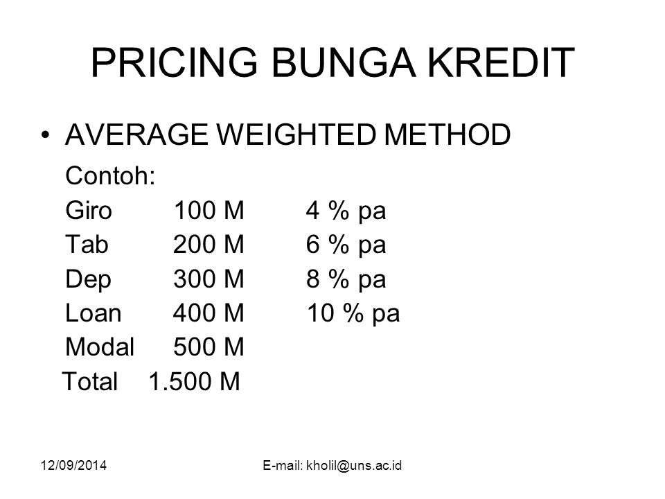 12/09/2014E-mail: kholil@uns.ac.id PRICING BUNGA KREDIT AVERAGE WEIGHTED METHOD Contoh: Giro100 M4 % pa Tab200 M6 % pa Dep300 M8 % pa Loan400 M10 % pa