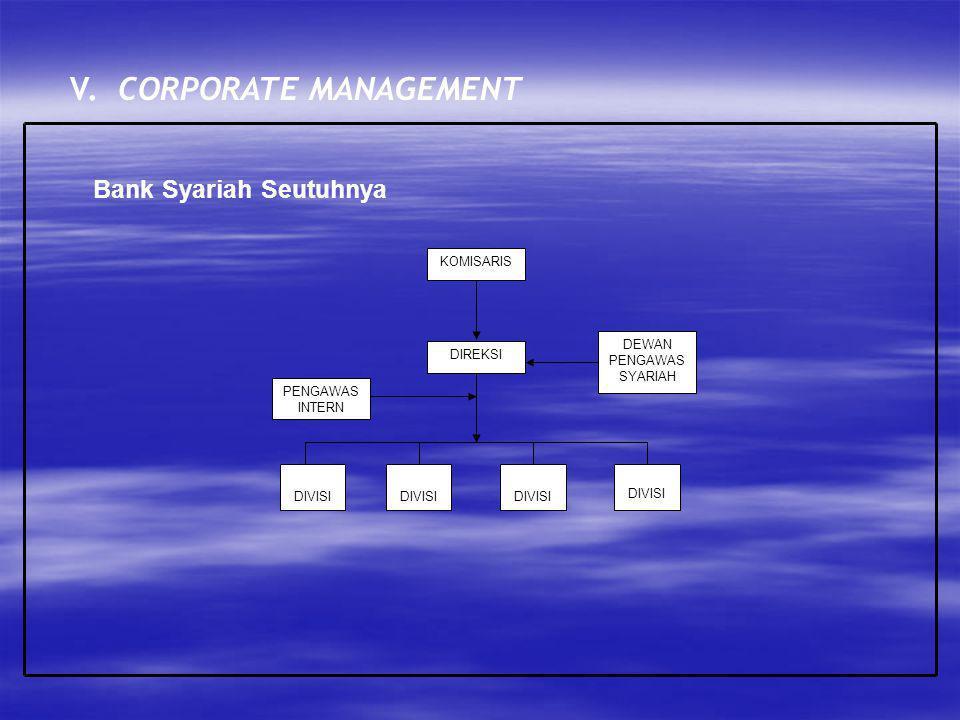 V. CORPORATE MANAGEMENT Bank Syariah Seutuhnya KOMISARIS PENGAWAS INTERN DEWAN PENGAWAS SYARIAH DIREKSI DIVISI