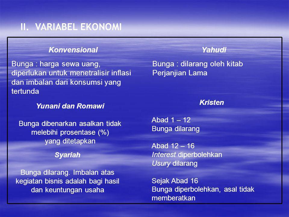 II. VARIABEL EKONOMI Konvensional Bunga : harga sewa uang, diperlukan untuk menetralisir inflasi dan imbalan dari konsumsi yang tertunda Yahudi Bunga