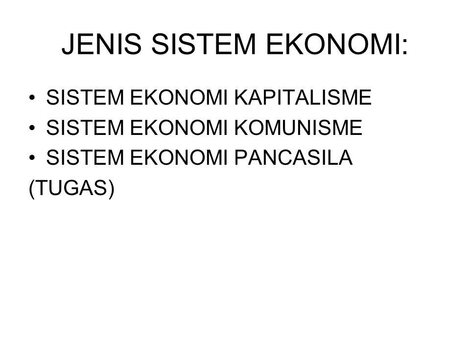 JENIS SISTEM EKONOMI: SISTEM EKONOMI KAPITALISME SISTEM EKONOMI KOMUNISME SISTEM EKONOMI PANCASILA (TUGAS)