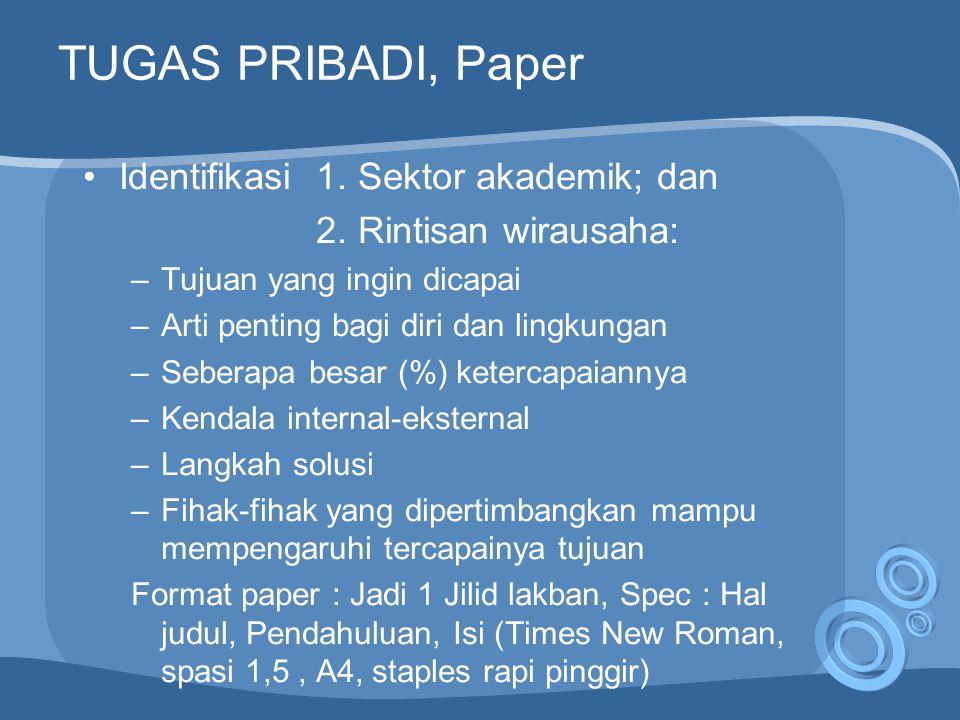 TUGAS PRIBADI, Paper Identifikasi 1. Sektor akademik; dan 2.