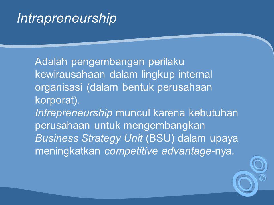 Intrapreneurship Adalah pengembangan perilaku kewirausahaan dalam lingkup internal organisasi (dalam bentuk perusahaan korporat).