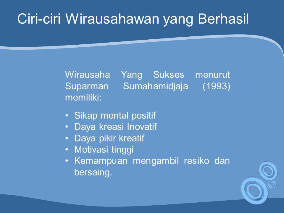 Ciri-ciri Wirausahawan yang Berhasil Wirausaha Yang Sukses menurut Suparman Sumahamidjaja (1993) memiliki: Sikap mental positif Daya kreasi Inovatif Daya pikir kreatif Motivasi tinggi Kemampuan mengambil resiko dan bersaing.