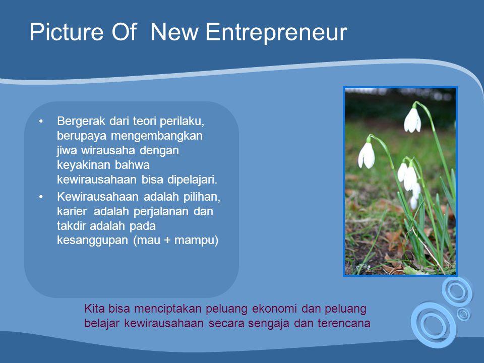 Picture Of New Entrepreneur Bergerak dari teori perilaku, berupaya mengembangkan jiwa wirausaha dengan keyakinan bahwa kewirausahaan bisa dipelajari.