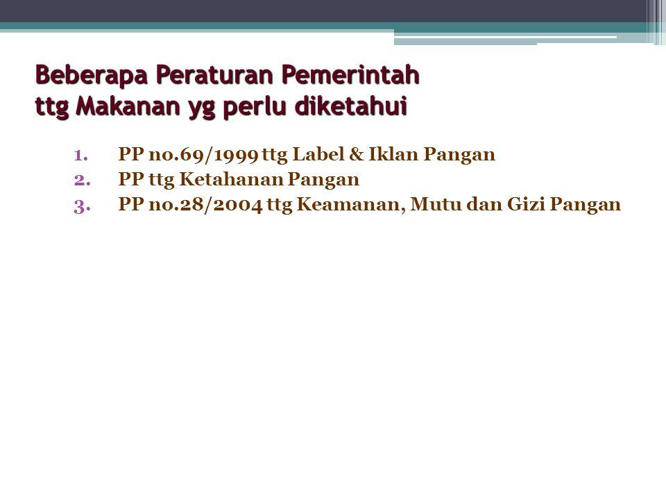 Beberapa Peraturan Pemerintah ttg Makanan yg perlu diketahui 1.PP no.69/1999 ttg Label & Iklan Pangan 2.PP ttg Ketahanan Pangan 3.PP no.28/2004 ttg Ke