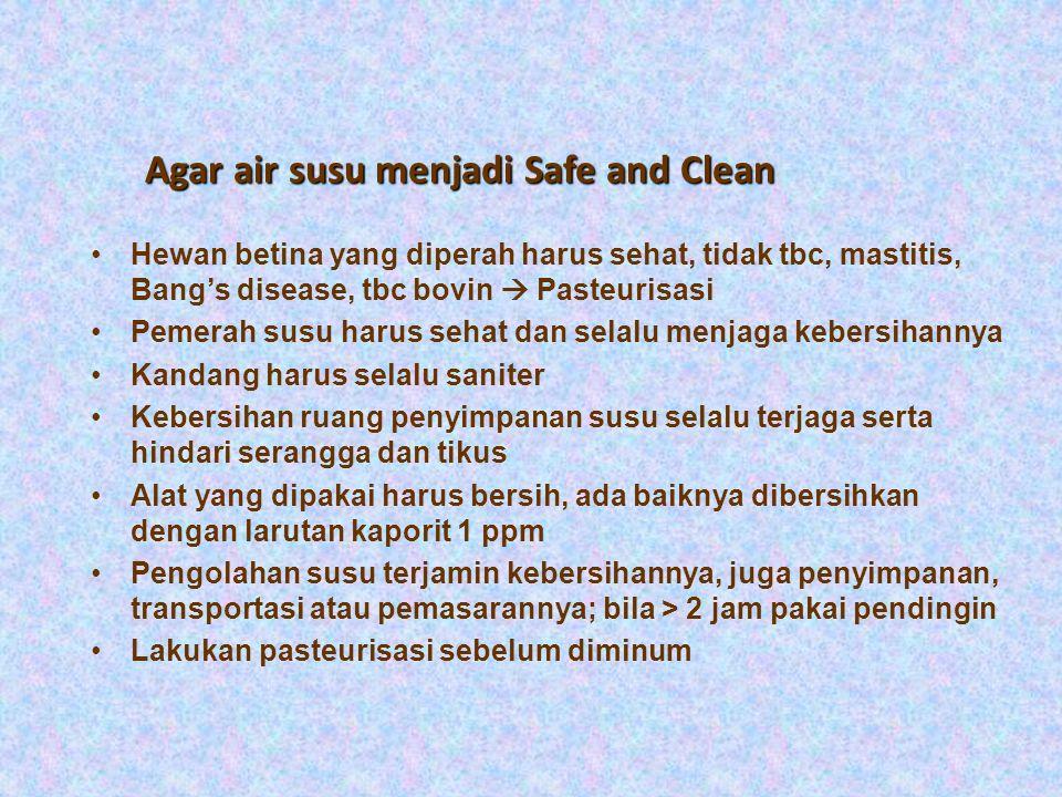 Higiene dan Sanitasi Susu (Milk Hygiene) Safe milk - Tak berbahaya bagi kesehatan -Tidak mengandung bibit penyakit : - Tuberkulosis - Typhoid fever -