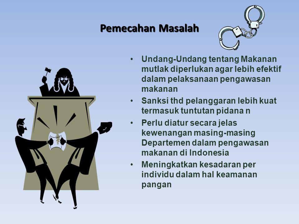 Pemecahan Masalah Undang-Undang tentang Makanan mutlak diperlukan agar lebih efektif dalam pelaksanaan pengawasan makanan Sanksi thd pelanggaran lebih kuat termasuk tuntutan pidana n Perlu diatur secara jelas kewenangan masing-masing Departemen dalam pengawasan makanan di Indonesia Meningkatkan kesadaran per individu dalam hal keamanan pangan