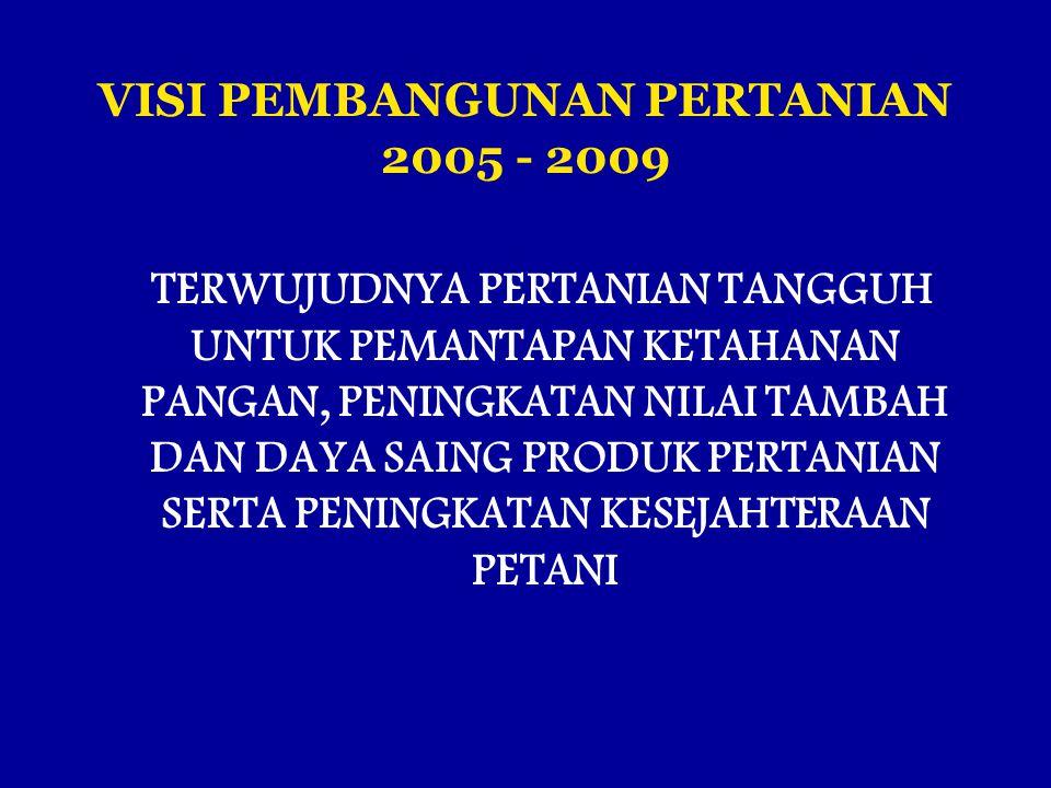 VISI PEMBANGUNAN PERTANIAN 2005 - 2009 TERWUJUDNYA PERTANIAN TANGGUH UNTUK PEMANTAPAN KETAHANAN PANGAN, PENINGKATAN NILAI TAMBAH DAN DAYA SAING PRODUK PERTANIAN SERTA PENINGKATAN KESEJAHTERAAN PETANI