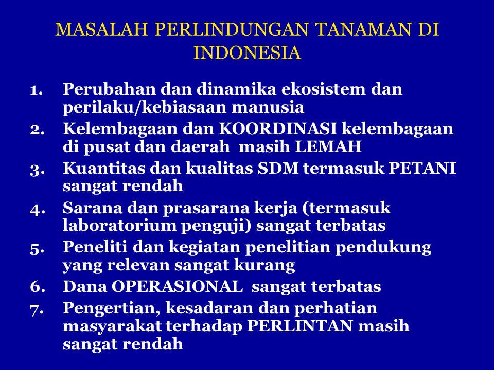 MASALAH PERLINDUNGAN TANAMAN DI INDONESIA 1.Perubahan dan dinamika ekosistem dan perilaku/kebiasaan manusia 2.Kelembagaan dan KOORDINASI kelembagaan d