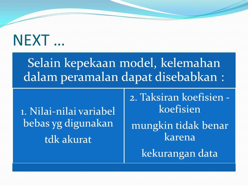 NEXT … Selain kepekaan model, kelemahan dalam peramalan dapat disebabkan : 1. Nilai-nilai variabel bebas yg digunakan tdk akurat 2. Taksiran koefisien