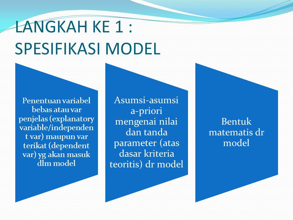 LANGKAH KE 1 : SPESIFIKASI MODEL Penentuan variabel bebas atau var penjelas (explanatory variable/independen t var) maupun var terikat (dependent var)
