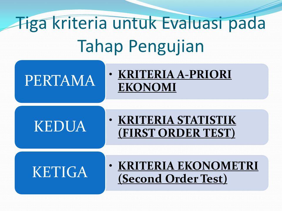 Tiga kriteria untuk Evaluasi pada Tahap Pengujian KRITERIA A-PRIORI EKONOMI PERTAMA KRITERIA STATISTIK (FIRST ORDER TEST) KEDUA KRITERIA EKONOMETRI (S