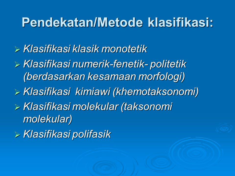 Pendekatan/Metode klasifikasi:  Klasifikasi klasik monotetik  Klasifikasi numerik-fenetik- politetik (berdasarkan kesamaan morfologi)  Klasifikasi