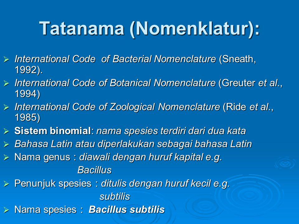 Tatanama (Nomenklatur):  International Code of Bacterial Nomenclature (Sneath, 1992).  International Code of Botanical Nomenclature (Greuter et al.,