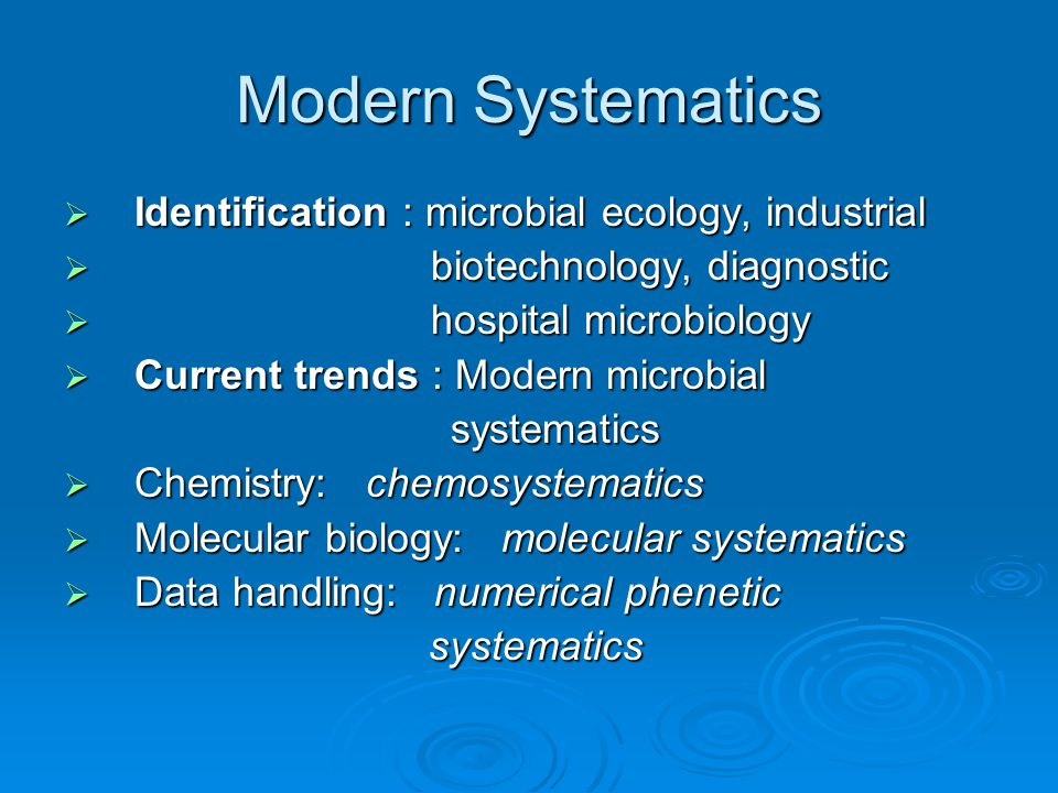 Modern Systematics  Identification : microbial ecology, industrial  biotechnology, diagnostic  hospital microbiology  Current trends : Modern micr