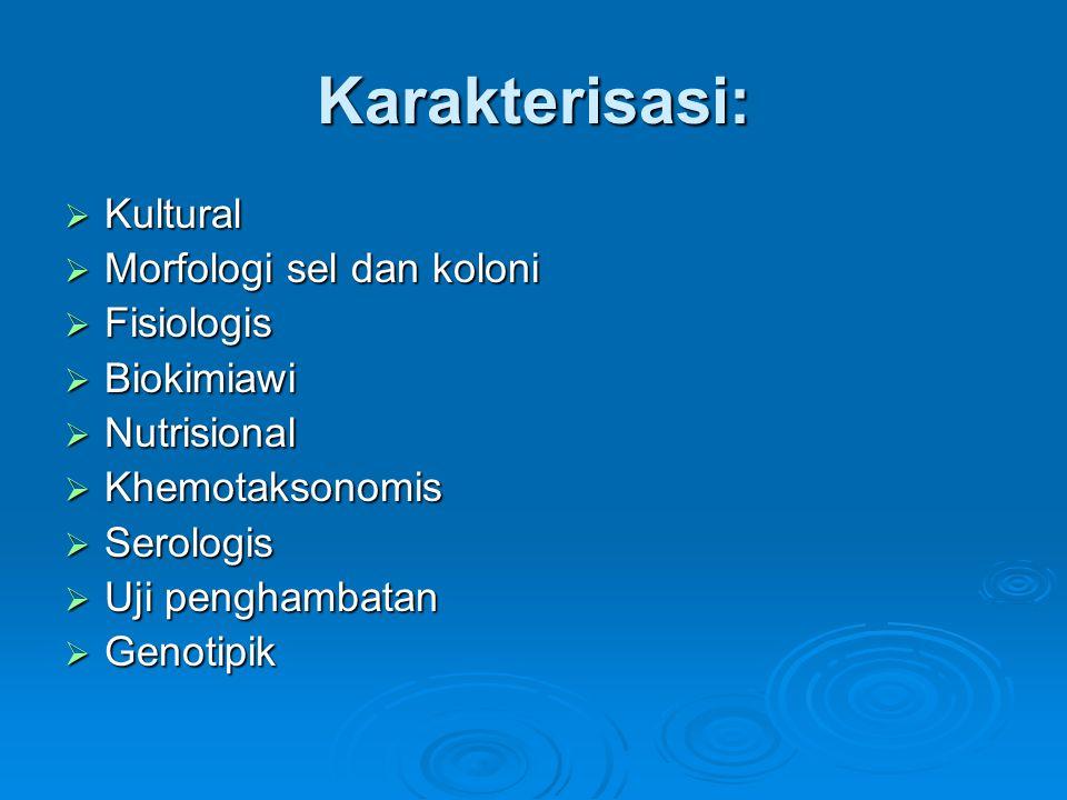 Karakterisasi:  Kultural  Morfologi sel dan koloni  Fisiologis  Biokimiawi  Nutrisional  Khemotaksonomis  Serologis  Uji penghambatan  Genoti