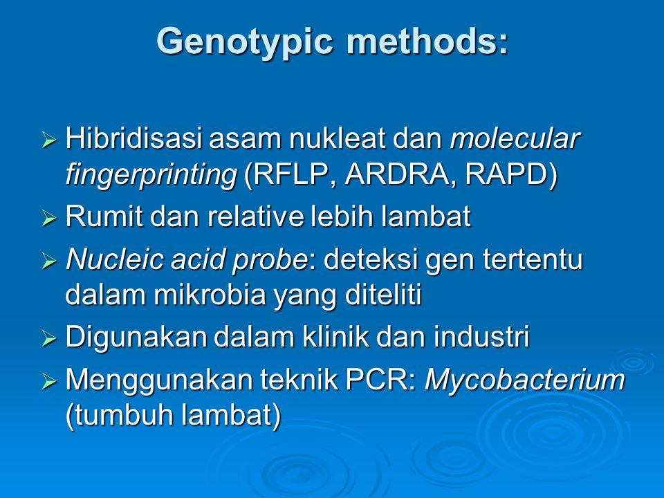 Genotypic methods:  Hibridisasi asam nukleat dan molecular fingerprinting (RFLP, ARDRA, RAPD)  Rumit dan relative lebih lambat  Nucleic acid probe: