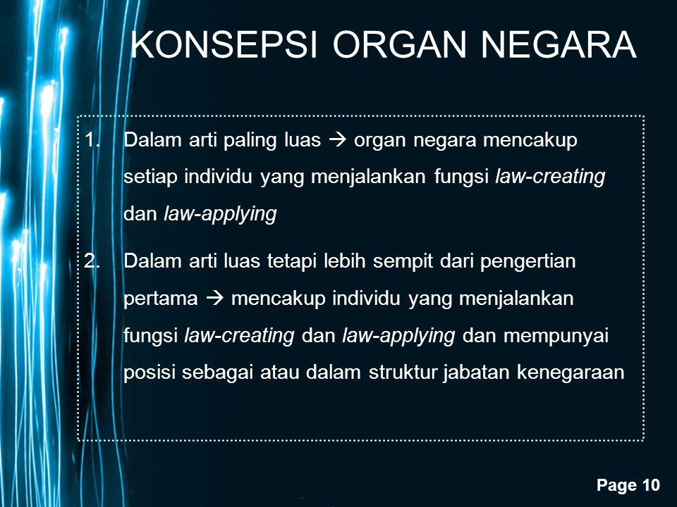 Page 10 KONSEPSI ORGAN NEGARA 1.Dalam arti paling luas  organ negara mencakup setiap individu yang menjalankan fungsi law-creating dan law-applying 2
