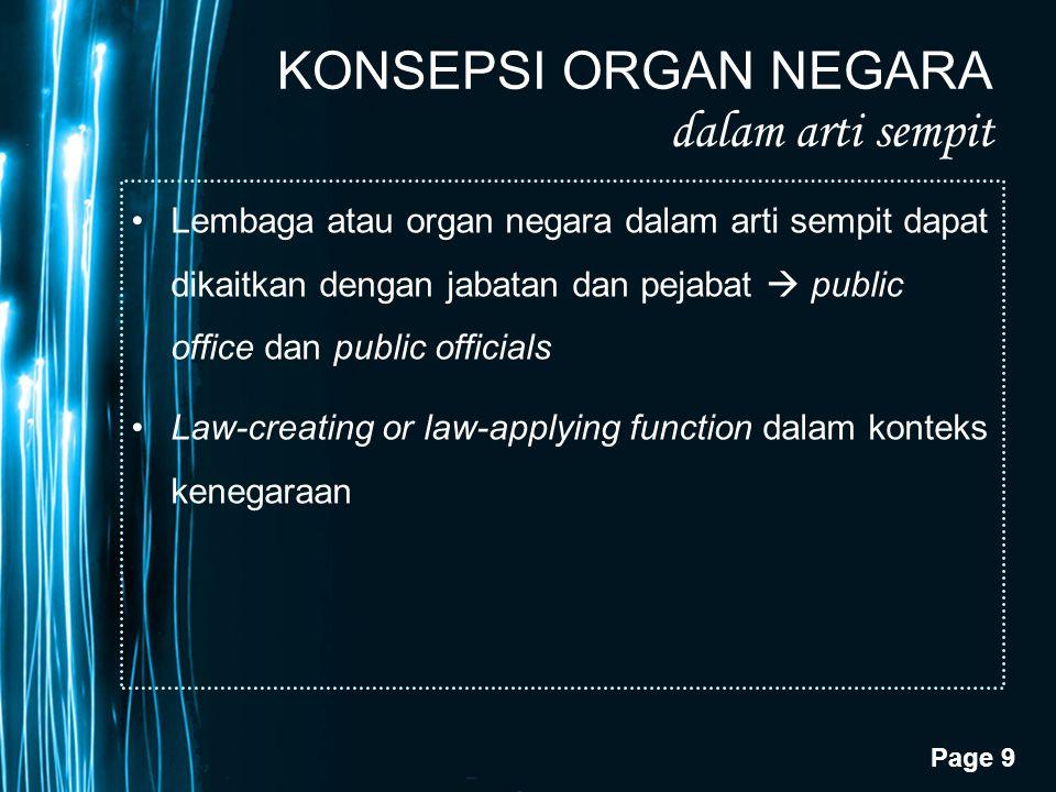 Page 9 KONSEPSI ORGAN NEGARA dalam arti sempit Lembaga atau organ negara dalam arti sempit dapat dikaitkan dengan jabatan dan pejabat  public office
