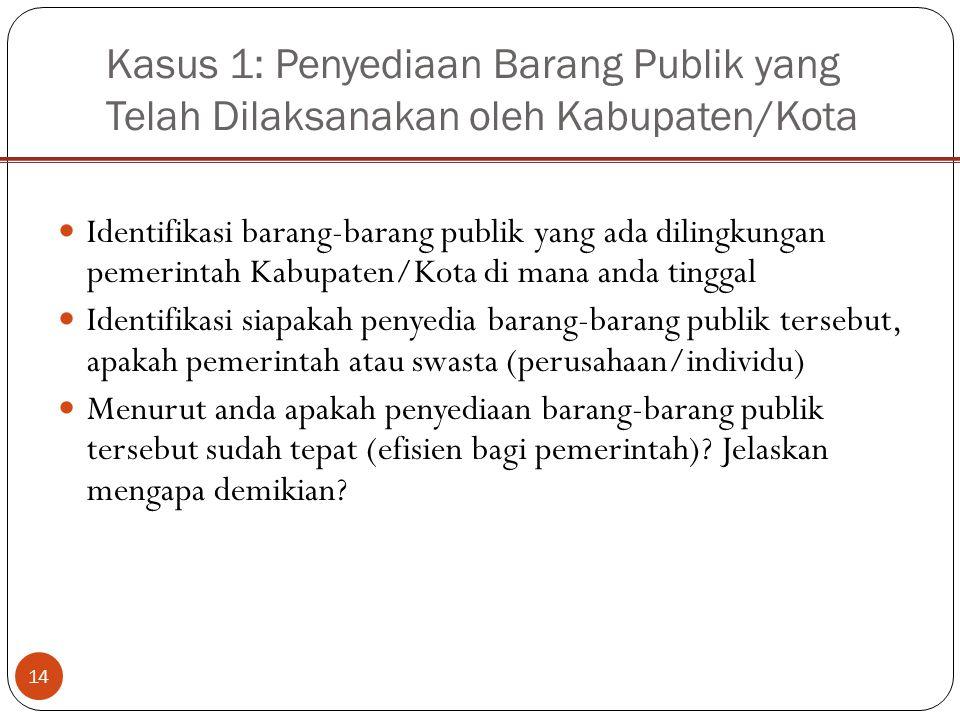Kasus 1: Penyediaan Barang Publik yang Telah Dilaksanakan oleh Kabupaten/Kota 14 Identifikasi barang-barang publik yang ada dilingkungan pemerintah Ka