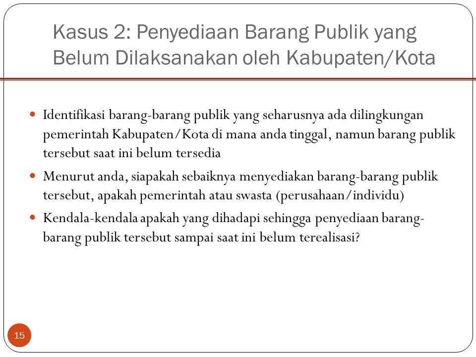 Kasus 2: Penyediaan Barang Publik yang Belum Dilaksanakan oleh Kabupaten/Kota 15 Identifikasi barang-barang publik yang seharusnya ada dilingkungan pe