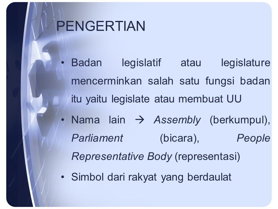 PENGERTIAN Badan legislatif atau legislature mencerminkan salah satu fungsi badan itu yaitu legislate atau membuat UU Nama lain  Assembly (berkumpul)