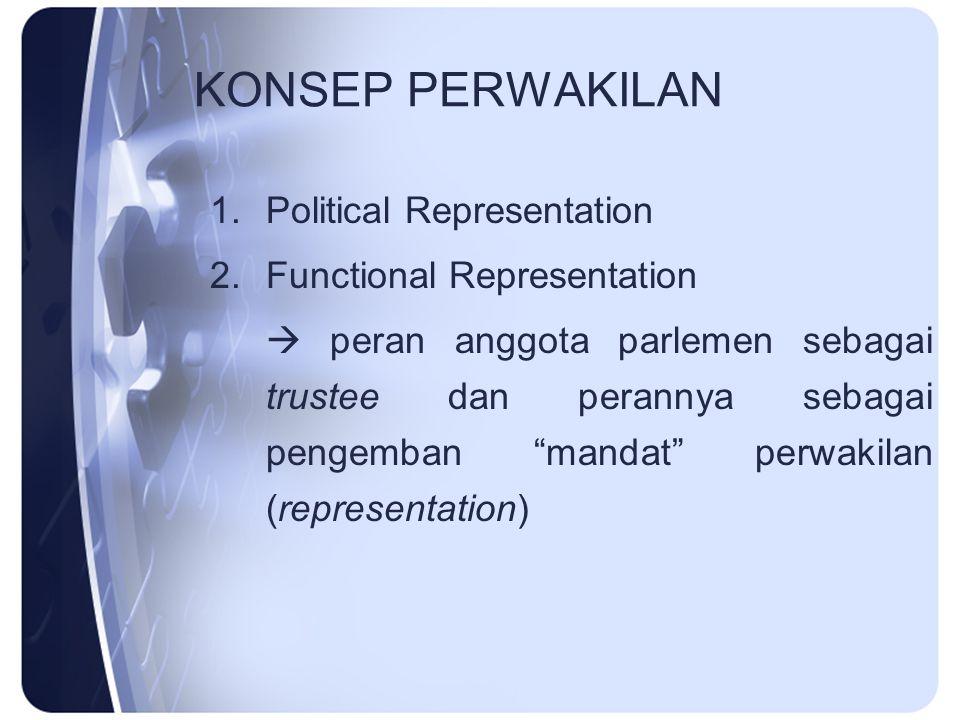 """KONSEP PERWAKILAN 1.Political Representation 2.Functional Representation  peran anggota parlemen sebagai trustee dan perannya sebagai pengemban """"mand"""
