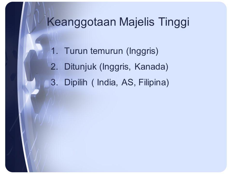 Keanggotaan Majelis Tinggi 1.Turun temurun (Inggris) 2.Ditunjuk (Inggris, Kanada) 3.Dipilih ( India, AS, Filipina)